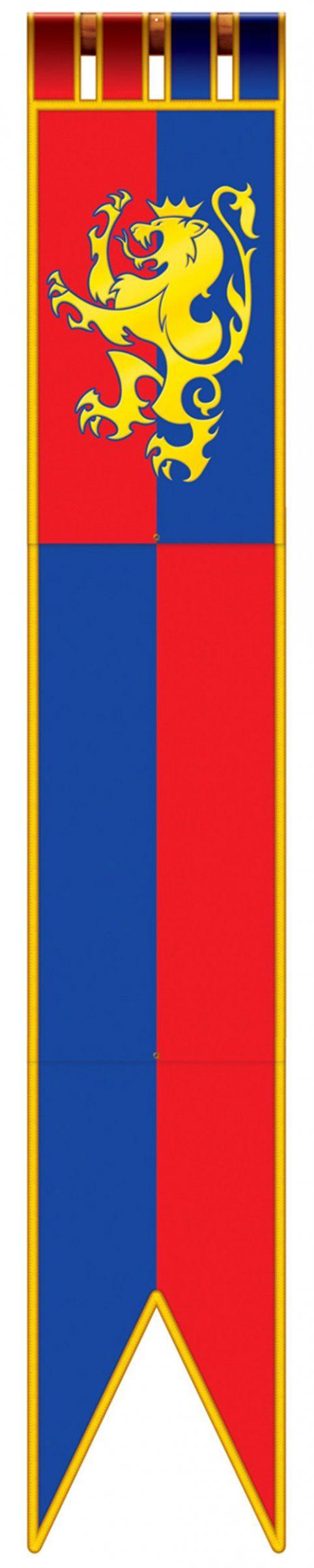 Décoration à suspendre bannière médiévale 180 cm : Décoration à suspendre de 1,8 m de longueur représentant un drapeau médiéval rouge et bleu avec un lion doré.Cette décoration est en carton.Cet...