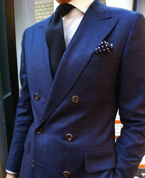 Needless to say, navy pocket square with white polka dot is a must-have pocket square