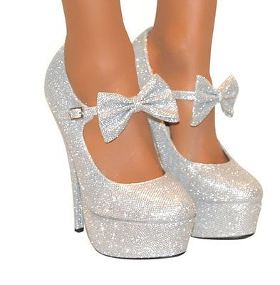 Silver platform heels with bow