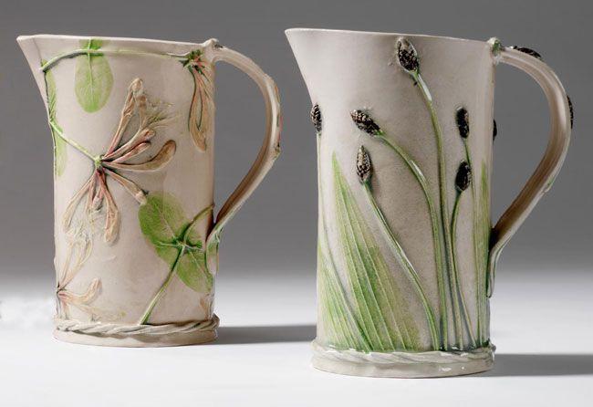 Medium jug, Plantain, 17cm high- sue dunne ceramics