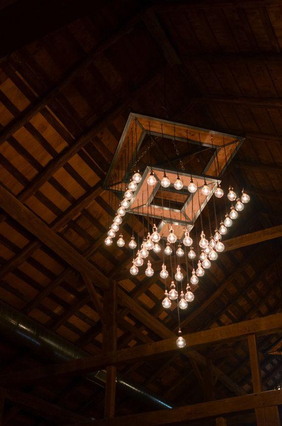 Rustic Industrial Chandelier - Steel and Barn Wood Tiered Chandelier w/Bulbs  #L1153
