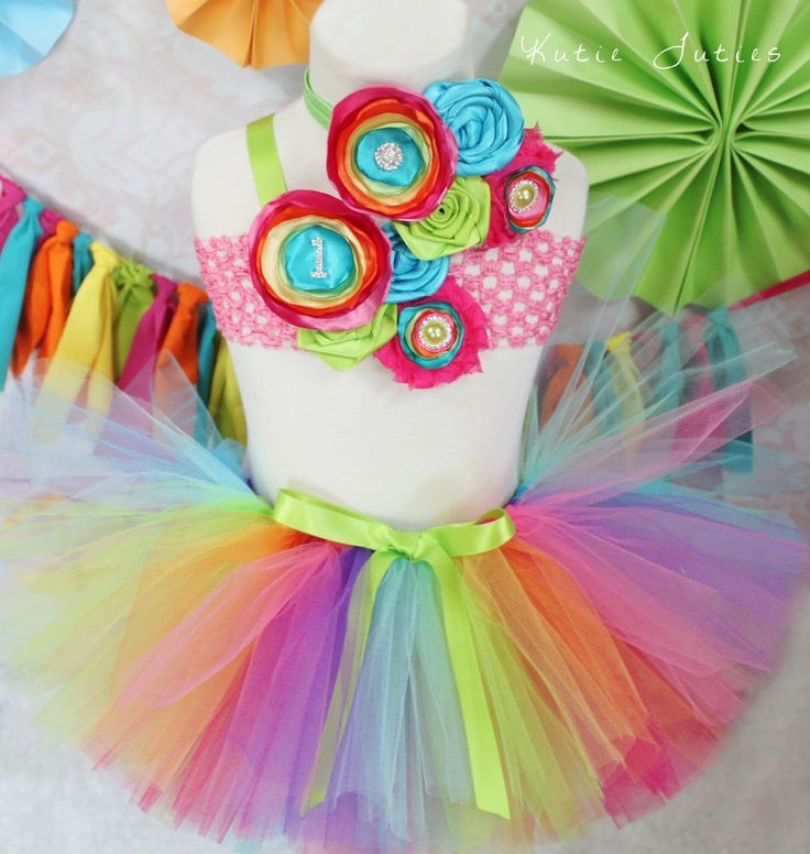 COMPLETE SET The Rainbow Tutu Top & Headband Pink by KutieTuties