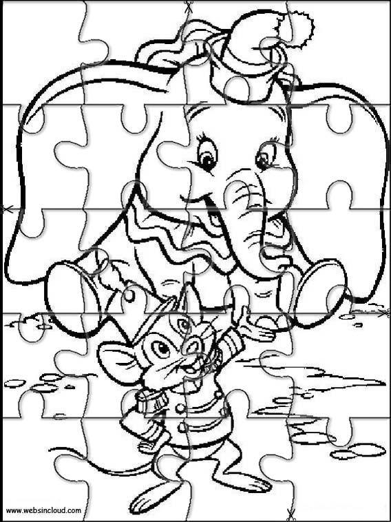 Actividades rompecabezas recortables para niños Dumbo 4