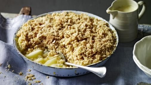 Nigel Slater's crumble balances tart Bramley apples with a topping that's made extra crunchy by demerara sugar and oats.
