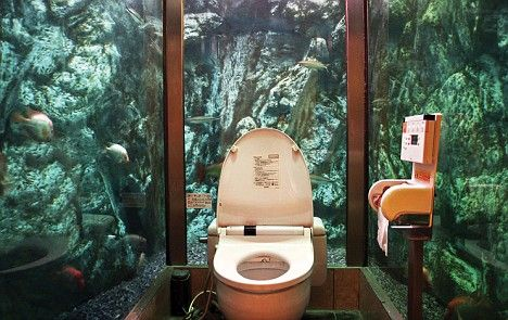 Toilet at the Mumin Papa Cafe in Japan...toilet surrounded by an aquarium
