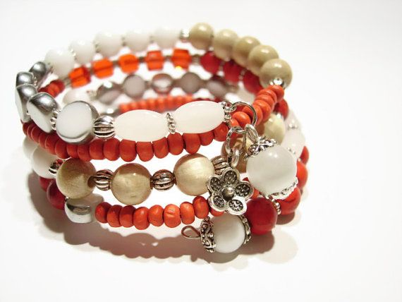 Red and white turquoise stone bracelet by AellaJewelry, $19.90 #red #turquoise #stone #bracelet
