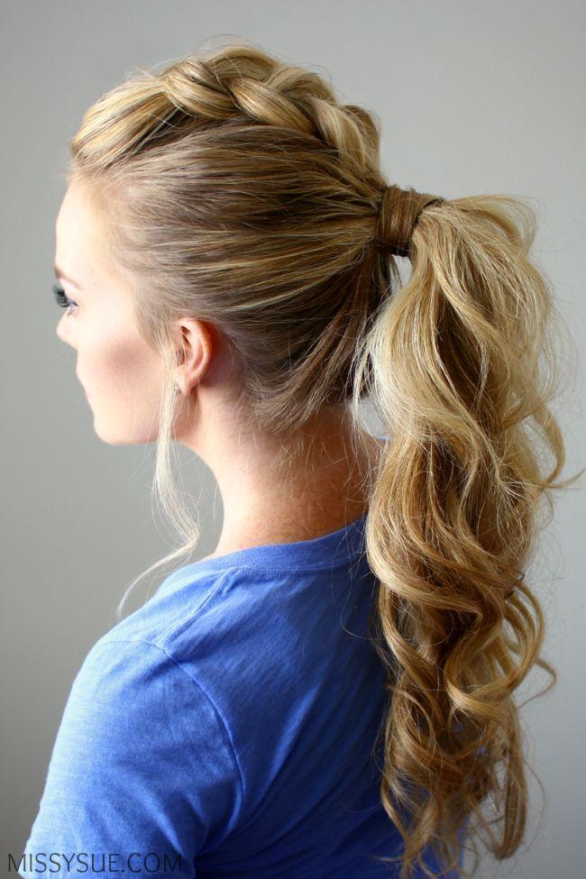 dutch braid mohawk ponytail fancy ponytails cute hairstyle ideas