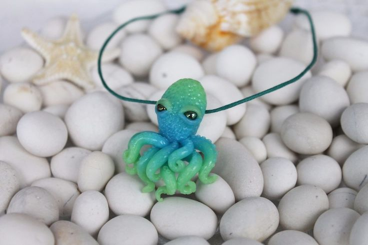 Green blue  octopus / pendant necklace jewelry / handmade polymer clay #Handmade #DropDangle