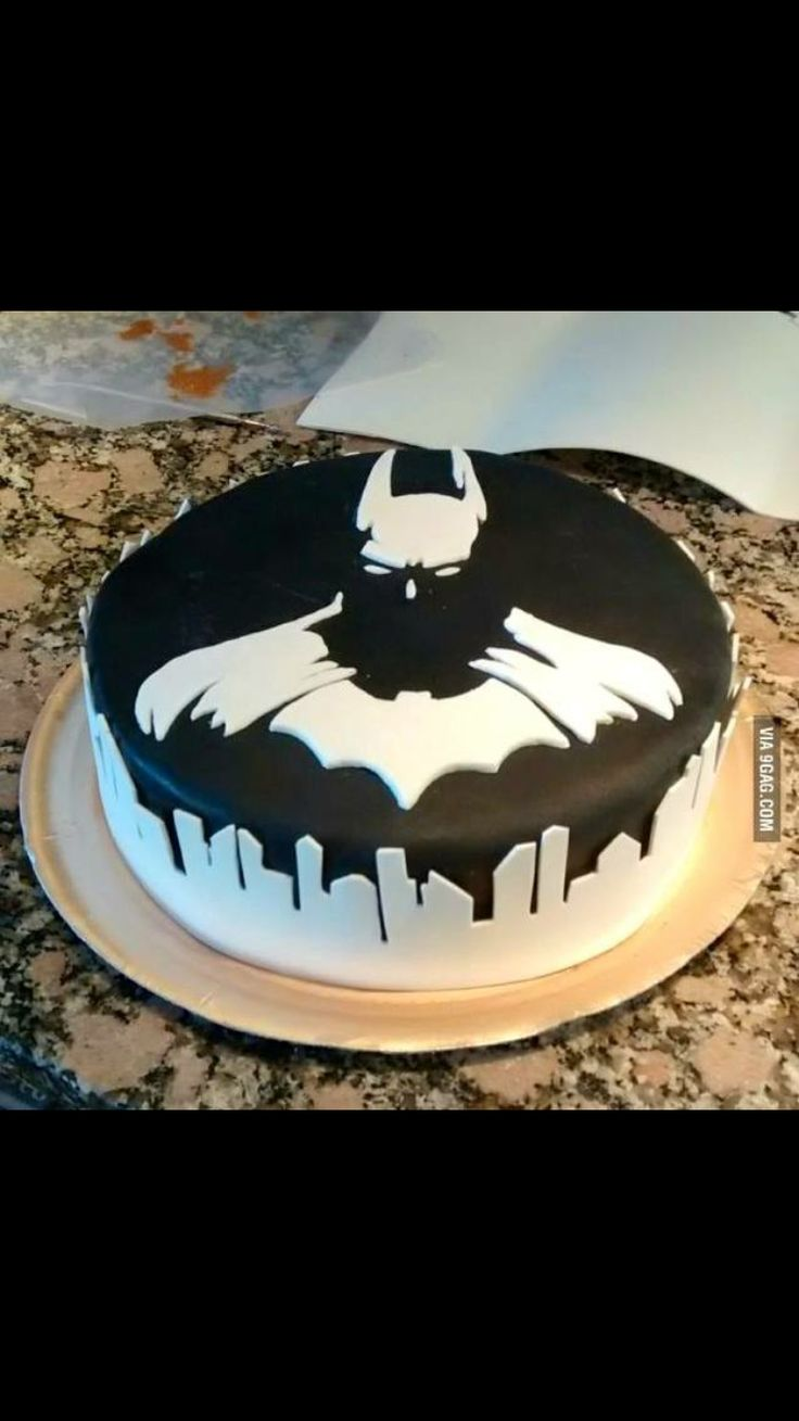 Batman Superheroes Cake Gotham City Birthday Boy Black And