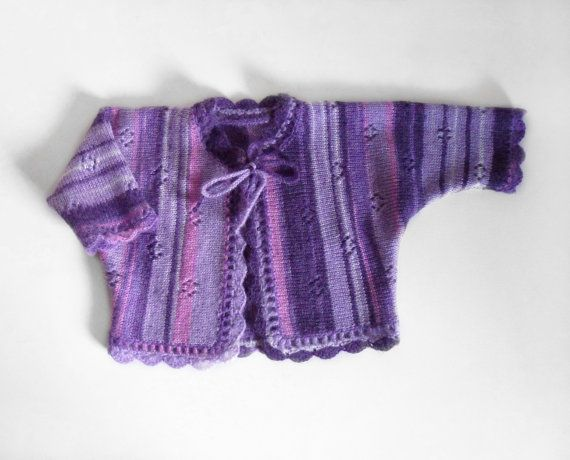 Knitted Baby Jacket Purple Violet 1 2 years by SasasHandcrafts