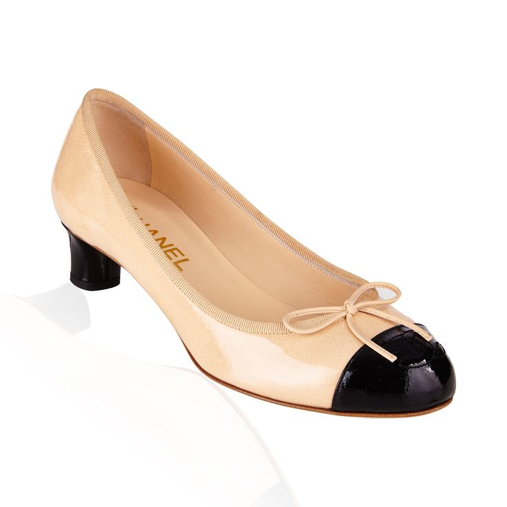 Beige/Black Patent Pump - Stylish & elegant these Chanel pumps are a fabulous classic, a perfect addition to any outfit day time or evening.