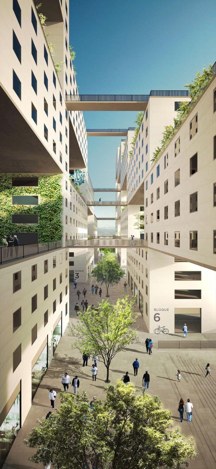Taller 301 - Project - Plaza de la Hoja - Image-7  Habitação Social de alta qualidade o projeto se esforça para criar um edifício com uma forte identidade comunitária representada pelos espaços vazios para a vida coletiva em diferentes alturas.
