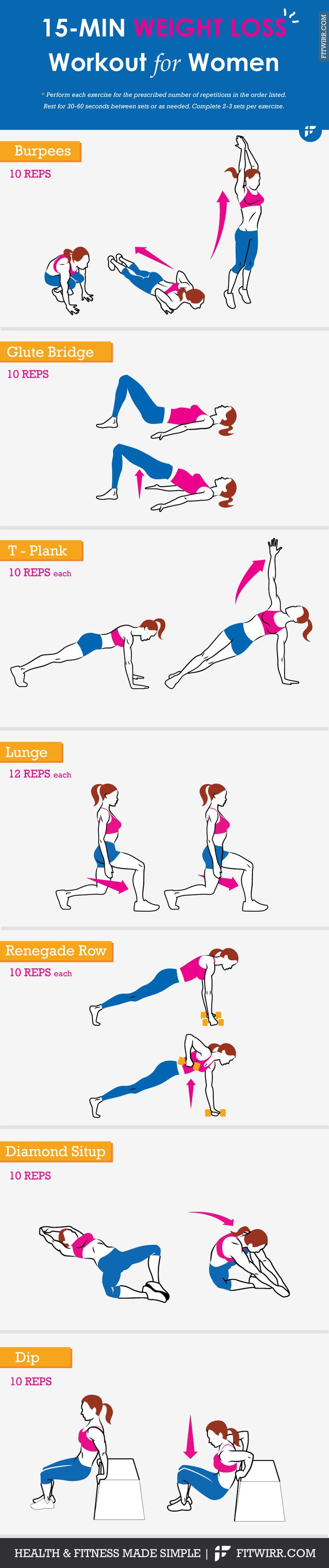 22 super effective exercises for weight loss + 15-minute weight loss workout you can do anywhere. No-equipment, just your own body resistance.