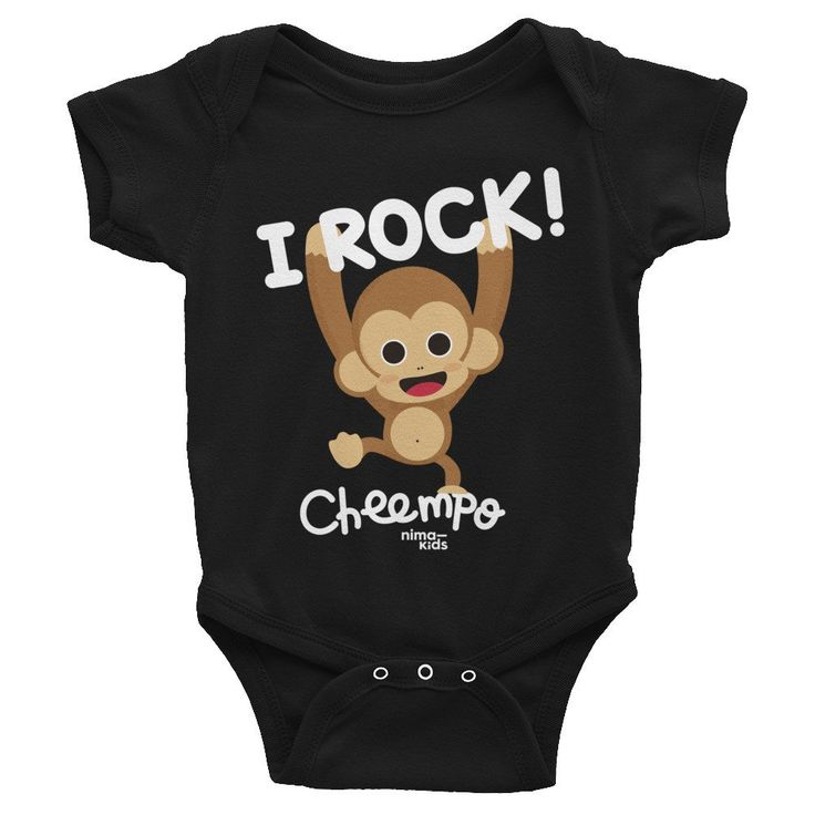 """Cheempo Infant Bodysuit """"I ROCK!""""    This comfortable bodysuit will be a great addition to any baby's wardrobe, and lap shoulders will make for easier changing.     #infant #infantclothes #kidsclothes #kidsfashion #children #childrenswear #childrensboutique #childrensclothing #childrensfashion #coolkidsclothes #cheempo #nimakids #infantbodysuit #janegoodall #nature #endangeredspecies #chimpanzees #animals #cuteanimals #loveanimals #animalrights #animalsaddict #animalslover #animalprotection"""