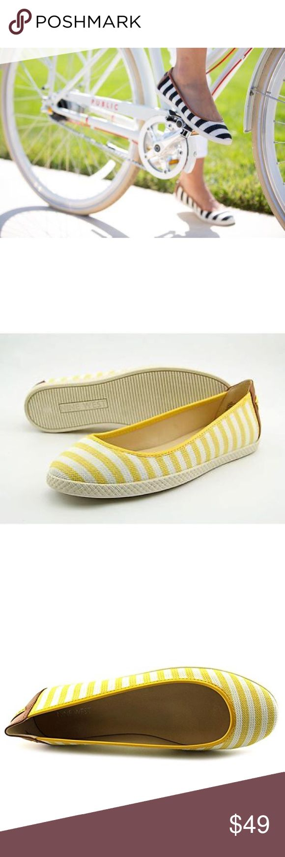 Nautical Yellow Linen Ballet Flats Add a pop of color to your casual style with the striped flats from Nine West. This weekend flat is the perfect go-to for summer festivals and afternoons at the mall!  Round closed-toe Slip-on design Contrasting back counter with stitched detailing Materials: Textile Upper. Cushioned Footbed Nine West Shoes Flats & Loafers