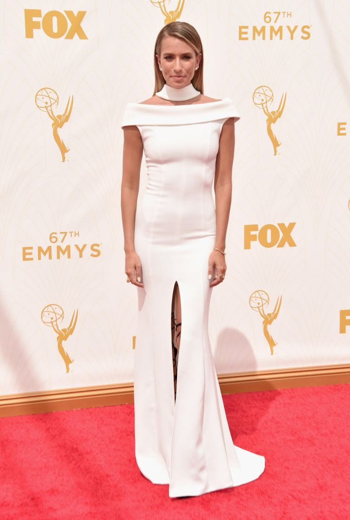 Renee Bargh in white party dress