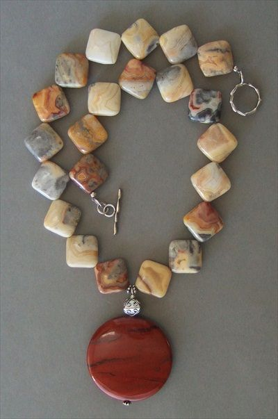 Handmade jewelry - crazy lace agate necklace handmade-beaded-gemstone-jewelry.com