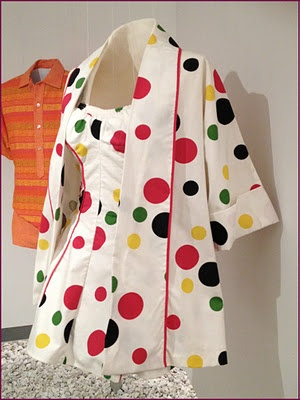 Polka-dot cotton bathing suit and jacket by Margit Fellegi for Cole of California, American, c. 1950.: Bathing Suits, Vintage Fashion, 50S Swimsuits, Polkadot Cotton, 50 Bath Suits Swimsuits, 1950S Beaches, Polka Dots Cotton, 1950S Bath, Jackets 1950