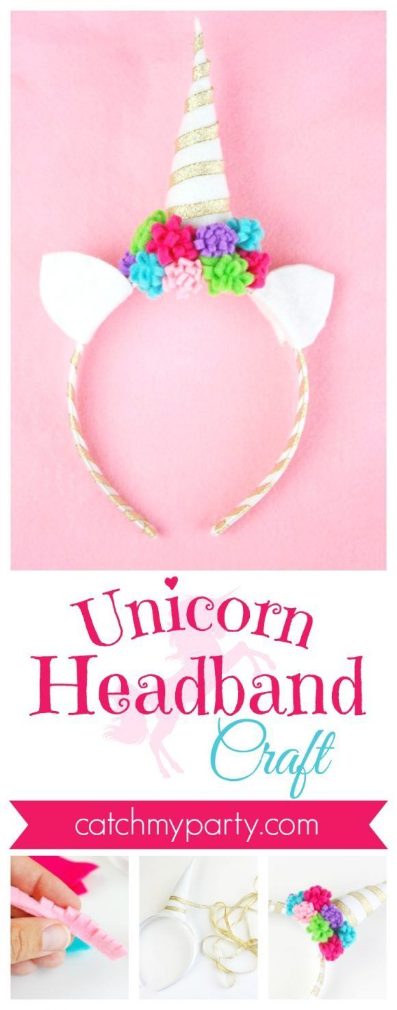 Fabulous and Easy Unicorn Headband Craft | Catch My Party #unicorn #unicorncraft #unicornparty #unicornheadband #unicornDIY #unicornpartyfavor #unicornfreeprintables #freeunicornpartyprintables