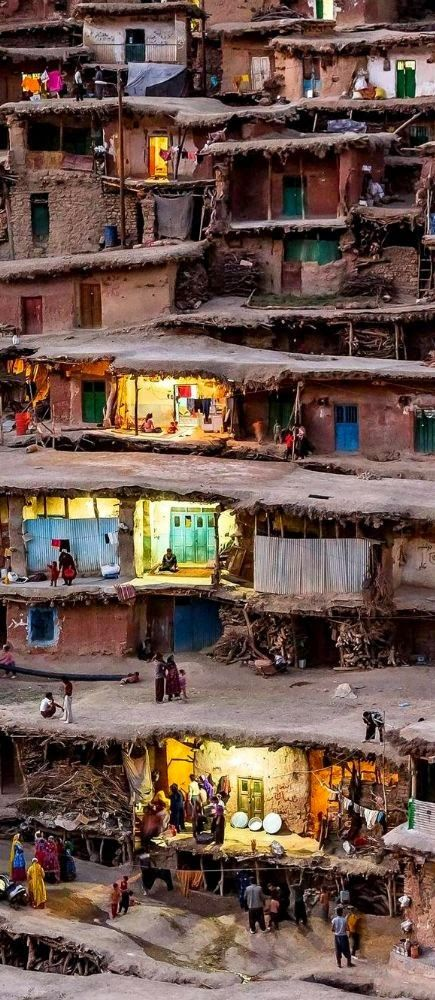 The mountain village of Masuleh in Iran where houses are built into the mountain side.