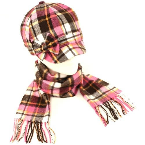 Kids Plaid Newsboy Hat Softer than Cashmere Scarf? Set Pink with Multiple Colors