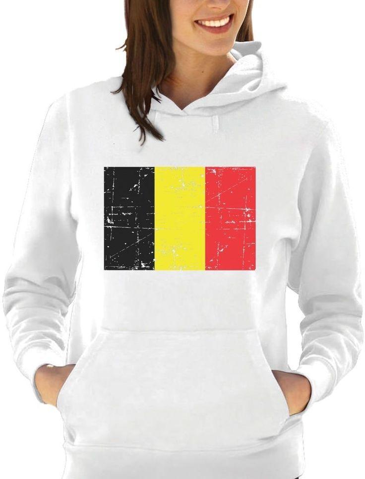 Belgium Flag Vintage Style Women Hoodie Gift Idea