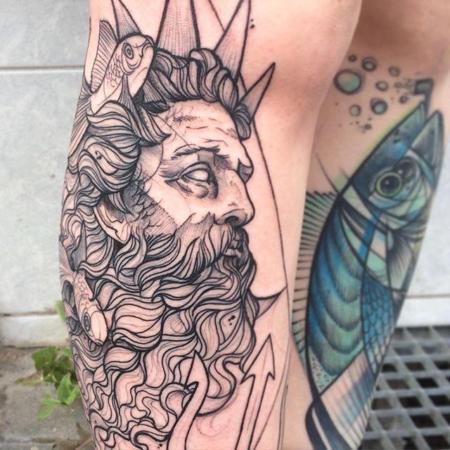 King Triton in Progress #arielle #disneytattoo