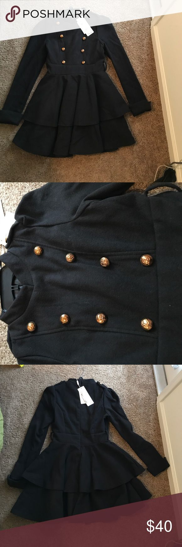 Black pea coat. Back zip. Size medium Size medium. Black peacoat with gold buttons. Never worn. Beautiful jacket not suggested for women with longer limbs ( my arms were too long for it ) Jackets & Coats Pea Coats