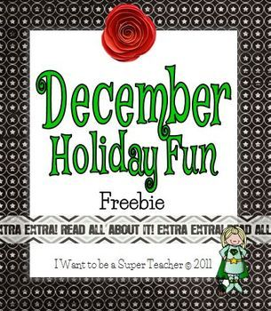 """December Holiday Fun Activities Freebie Use these activities for holiday homework, in-class breaks, or as an addition to your holiday """"for later"""" folder.  *Math -- Holiday Dinner Restaurant Style *Geography -- Santa's Flight Path *Writing -- Letter Writing Paper *Problem Solving/Game -- Holiday Tree Dot Game"""