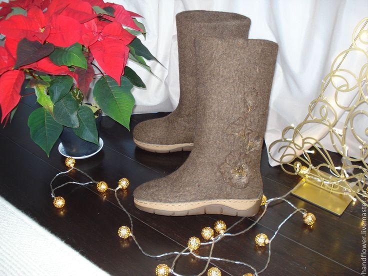 """Купить Сапоги валяные """"Рождественский шоколад"""" - коричневый, сапоги женские, сапоги зимние"""