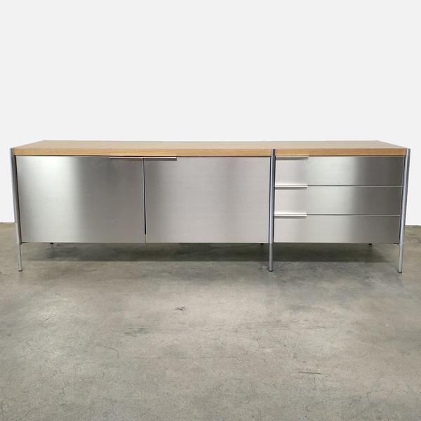 Pallucco Italia Light Oak Stainless Steel Stilo Sideboard