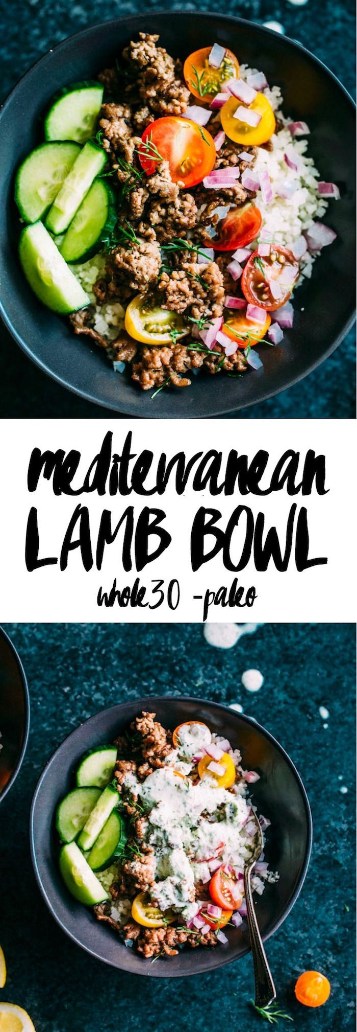 Mediterranean Lamb Bowl made with cauliflower rice, lamb and paleo-friendly tzatziki sauce | thealmondeater.com