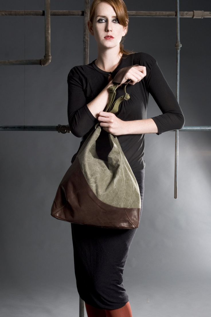 Bag made with recycled army materials