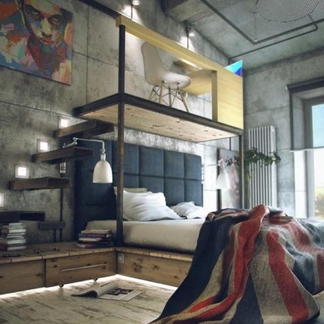Love this industrial look bedroom. By Maxim K.