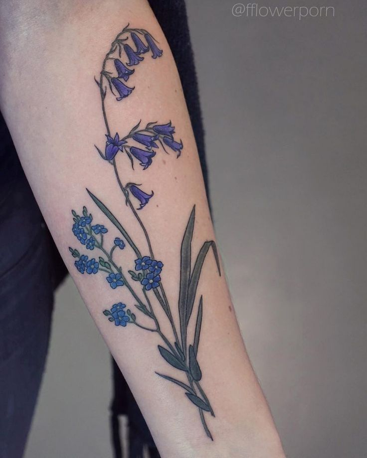 Bluebells and me not tattoo on the forearm