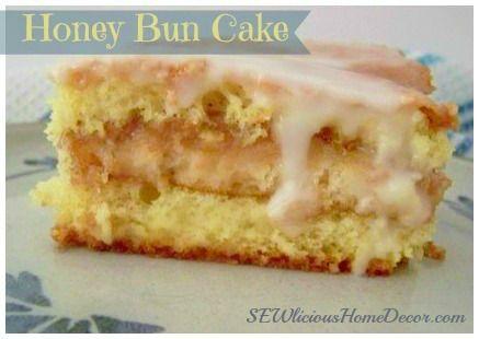 Mouthwatering Honey Bun #Cake!  Moist and delicious. SEWliciousHomeDecor.com