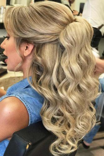 Quick and Easy Half Ponytail Hairstyles for Straight and Curly Hair ★ See more: http://lovehairstyles.com/easy-half-ponytail-hairstyles/