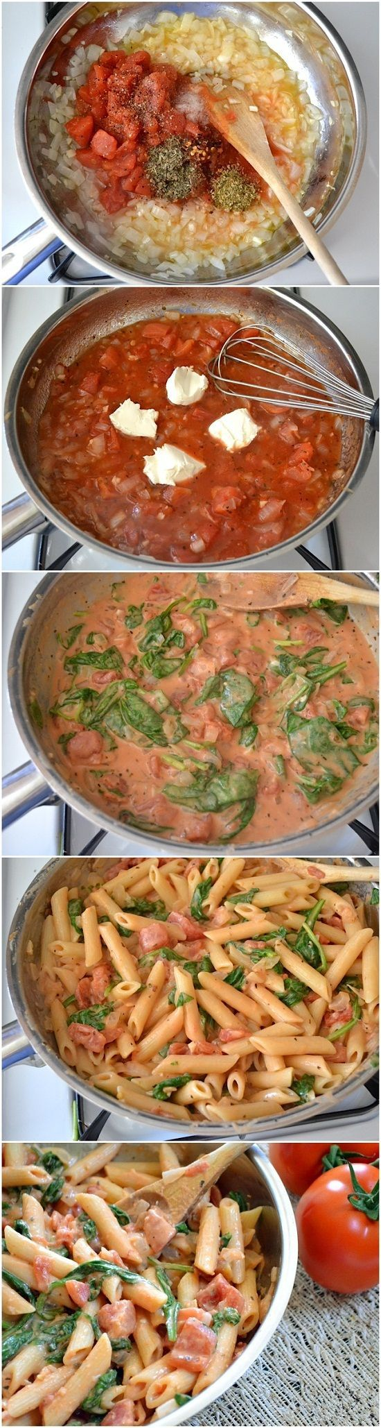 Ingredients   1 Tbsp olive oil   1 small onion   2 cloves garlic   1 (15 oz.) can diced tomatoes   ? tsp dried oregano   ? tsp dried basil   pinch red pepper flakes (optional)   freshly cracked pepper to taste   ? tsp salt   2 Tbsp tomato paste   2 oz. cream cheese   ? cup grated Parmesan   ? lb. penne pasta   ? (9 oz.) bag fresh spinach.