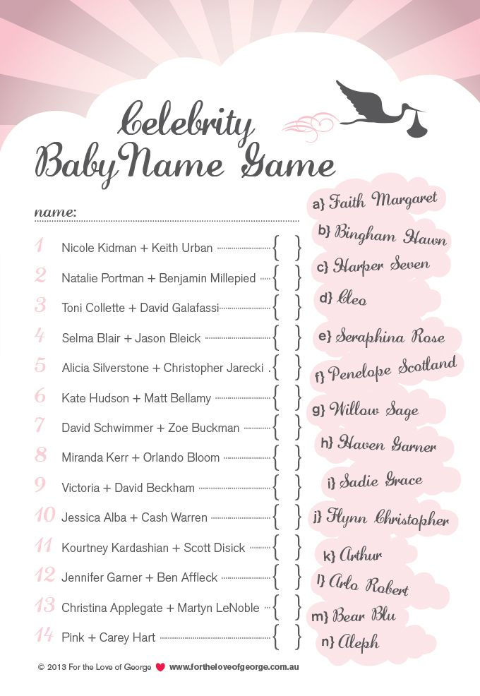 Celebrity Baby Name Game free download from For the Love of George