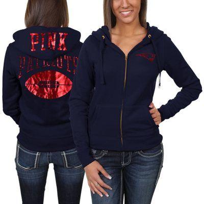 Victoria's Secret PINK New England Patriots Ladies Bling Full Zip Hoodie - Navy Blue