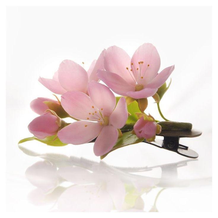 Купить Заколка для волос с цветами из полимерной глины и холодного фарфора. - заколка зажим с цветами