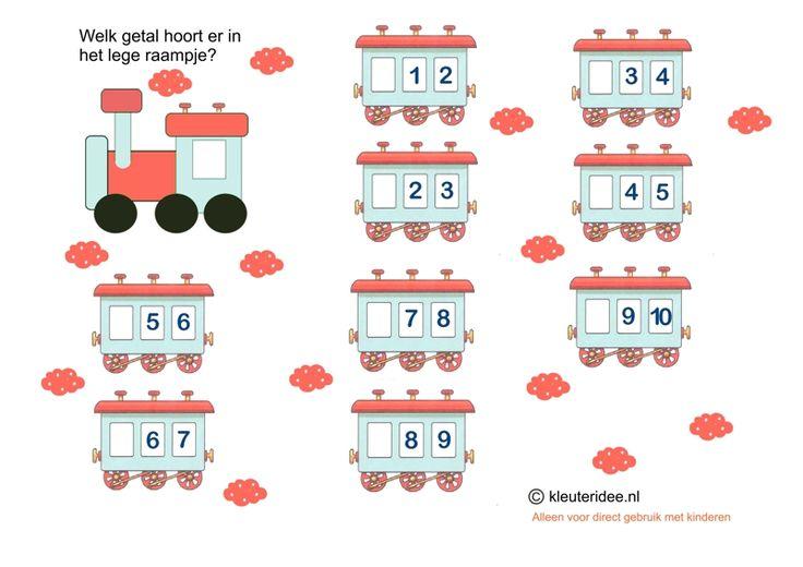 Welke getallen horen in de lege wagons 2, kleuteridee.nl, free printable.