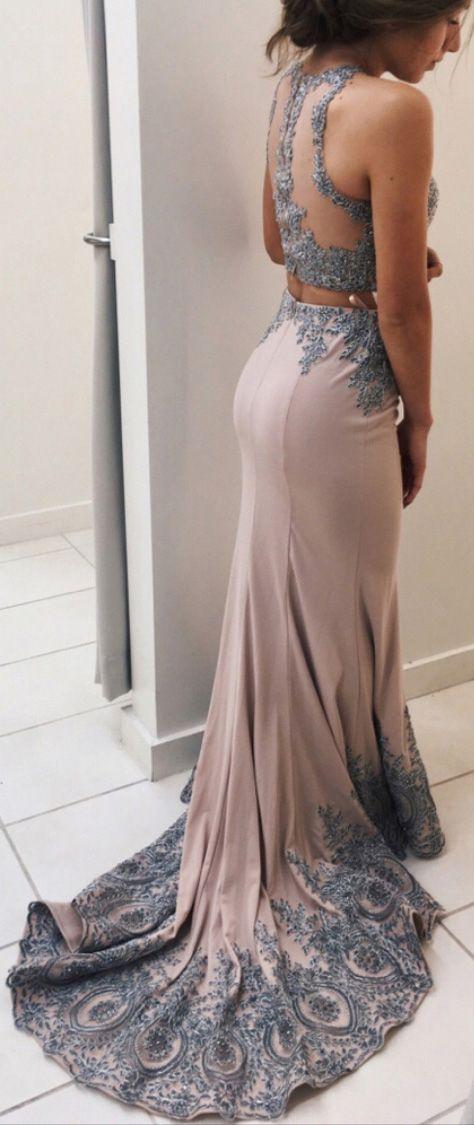 Lace Prom Dress,Appliqued Prom Dresses,2 Pieces Prom Dress,Mermaid Prom Dresses,Sweep Train Two Pieces Evening Dress,Senior Prom 2017 Dresses,Prom Dresses