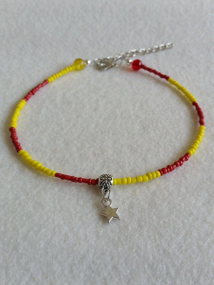Red and yellow seed bead anklet