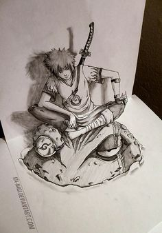 3D Art Drawing - YONDAIME HOKAGE - Mind-blowing Perspective 3D Drawing Art by Iza