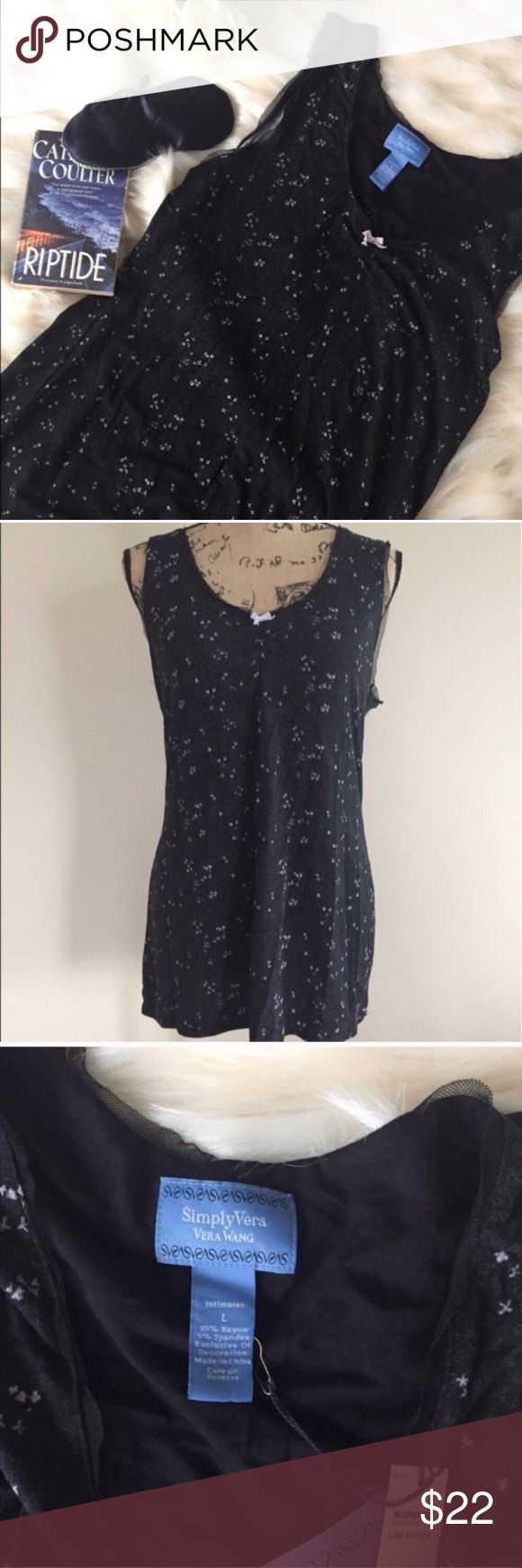 "NWT Simply Vera sleep tank NWT black/lavender floral print sleep tank from Simply Vera Vera Wang. Tiny lavender bow accent and lacy mesh trim. Size L. Bust measures 19"", length 29"". ⭐️ Simply Vera Vera Wang Intimates & Sleepwear"