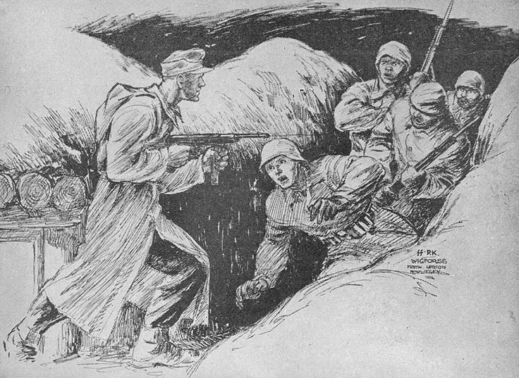 Finn Wigforss was a famous Norwegian artist who served as a war correspondent with Den Norske Legion on Leningrad Front in 1942-1943. These graphic sketches deal with the activities on Leningrad Front and are based on true events