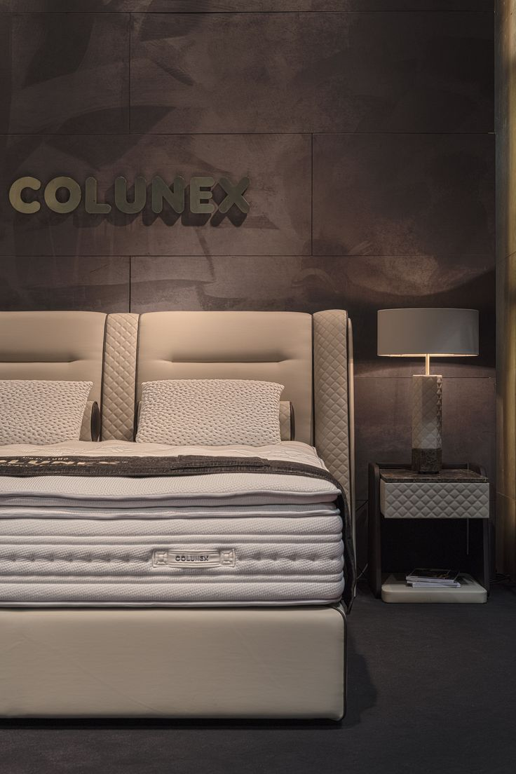 Cosmopolitan Bed, Side Table and Table Lamp by Colunex @ Salone del Mobile Milano 2017
