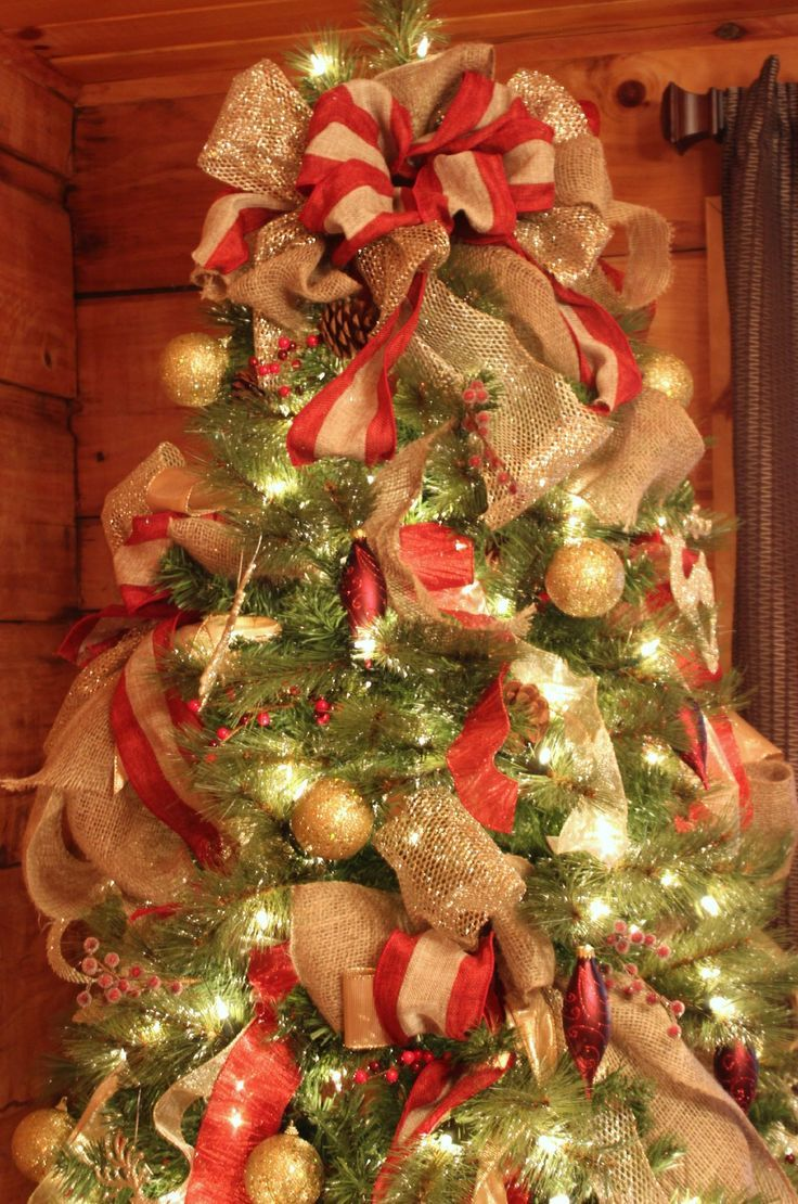 How To Decorate A Christmas Tree Very Good Tutorial I Am So Doing This Ribbon On Christmas Tree Christmas Tree Bows Red And Gold Christmas Tree