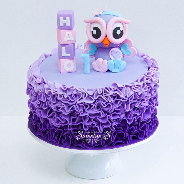 Owl First Birthday Cake - For all your cake decorating supplies, please visit craftcompany.co.uk